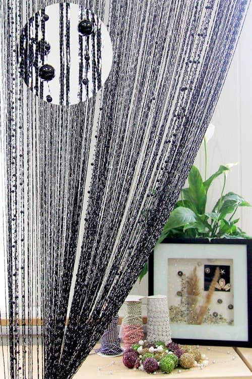 Кисея из нитей с бусами черная/серебро