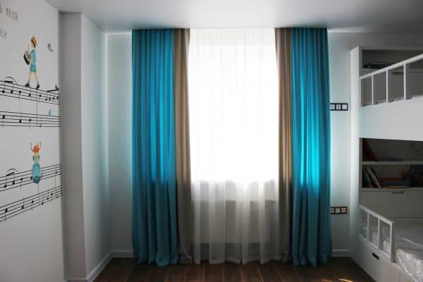 Комбинированные шторы из ткани софт