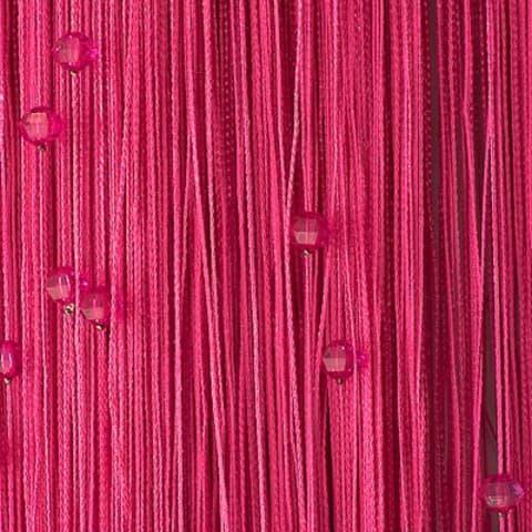 Кисея из нитей с бусами розовая