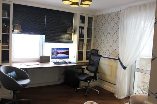 Римские шторы на подкладке blackout в кабинет и тюль на подхвате